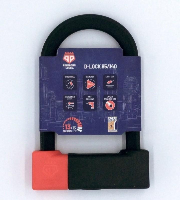 PentagonLocks D-Lock U Lock Bügelschloss sicher robust Typ 85/140 schwarz-rot