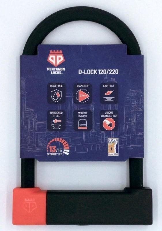 PentagonLocks D-Lock U Lock Bügelschloss sicher robust Typ 120/220 schwarz-rot