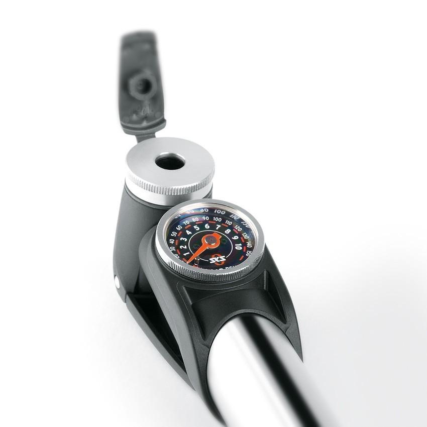 SKS Injex Control EVA alle Ventile Aluminium Teleskoppumpe Manometer bar psi