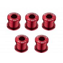 Token Kettenblattschrauben Aluminium 2 / 3 fach Kettenblätter rot 5er Set